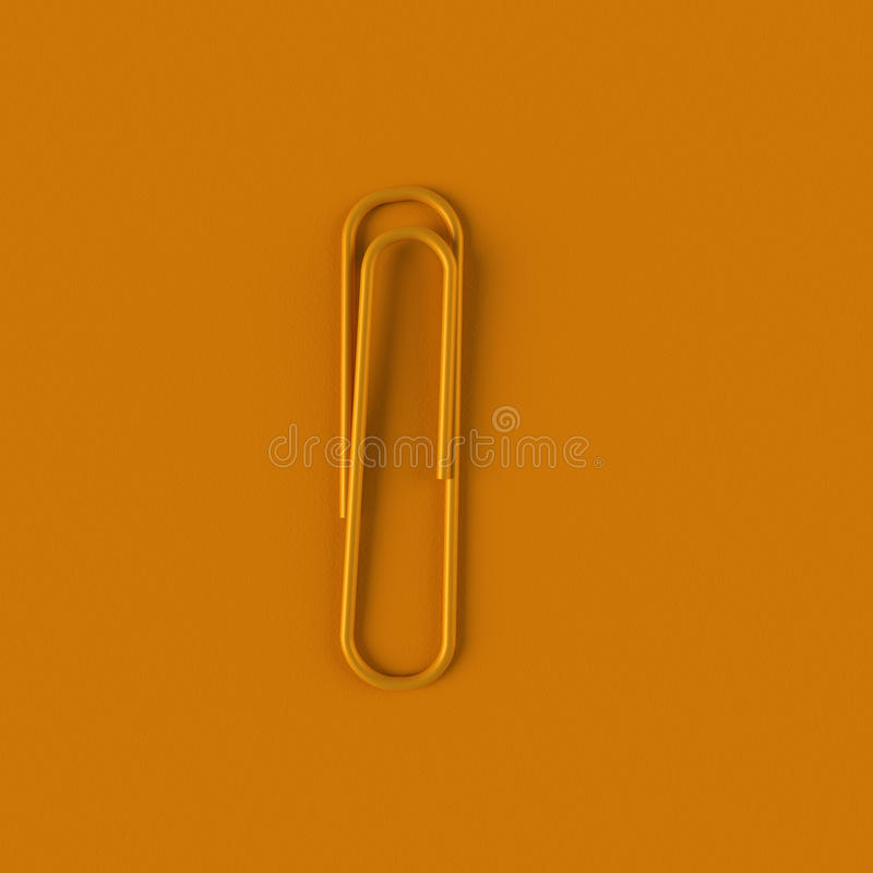 Agrafe orange simple rendu 3d illustration libre de droits