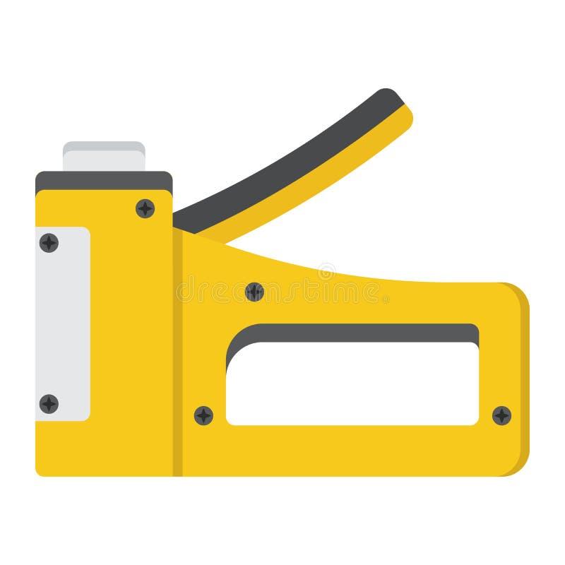 Agrafez l'icône plate d'arme à feu, la construisez et réparation, agrafeuse illustration libre de droits