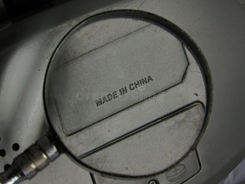 Agrandado hecho en la etiqueta de China imagen de archivo libre de regalías