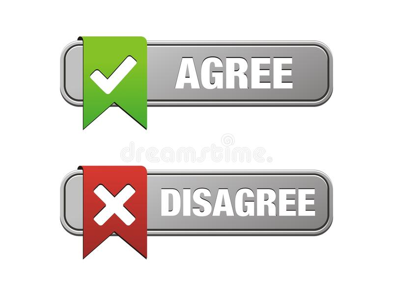 agree不同意按钮 向量例证