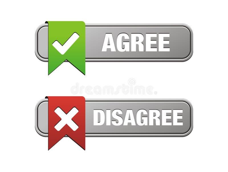 Agree è in disaccordo bottoni illustrazione vettoriale