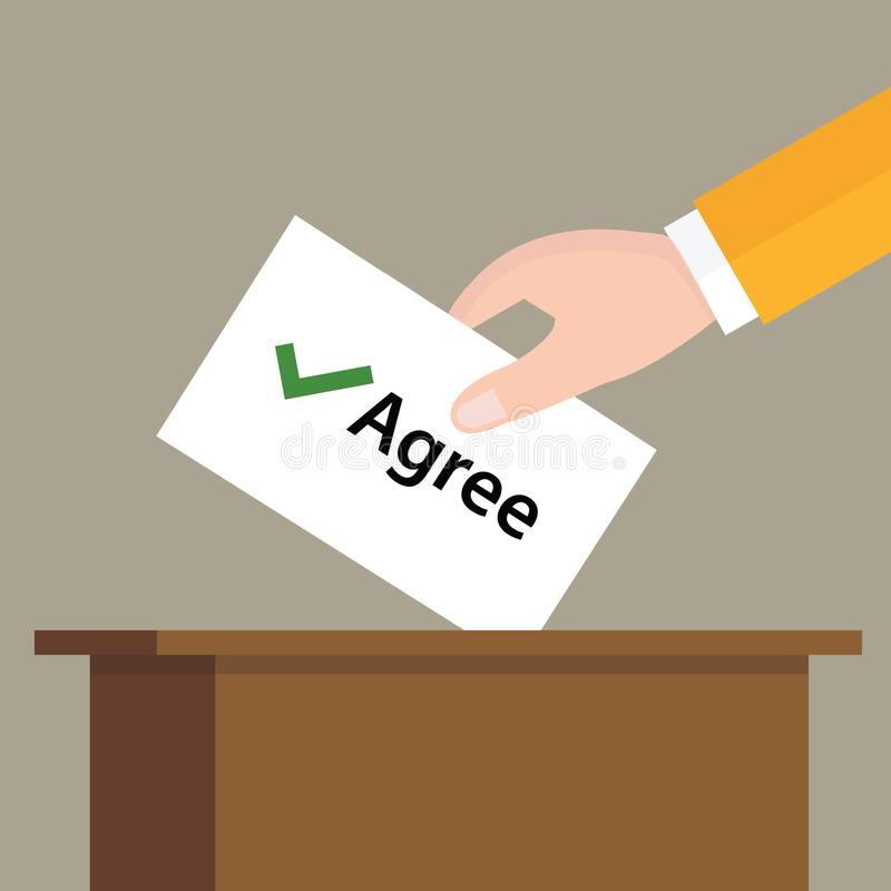 Agree check mark choice vote hand putting a ballot paper in a slot of box. Vector stock illustration