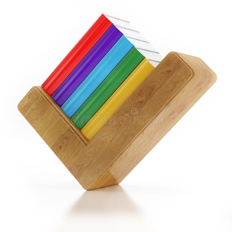 Agree Check Mark And Wooden Book Shelfs With Colored Books Isolated ...