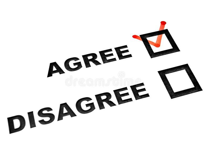 Agree sind Auswahlkästchen auf weißer Blattzecke zustimmen an anderer Meinung stockfotos