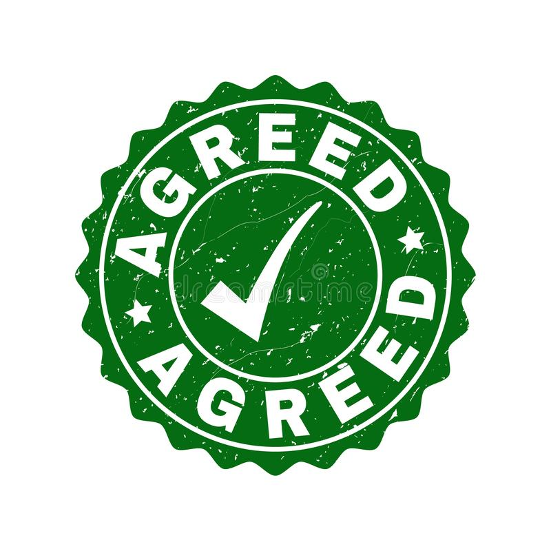 Agreed Scratched Stamp with Tick royalty free illustration