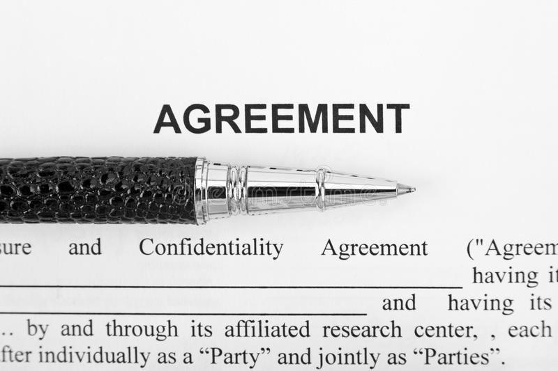 Download Agreement and black pen stock image. Image of signed - 17894865