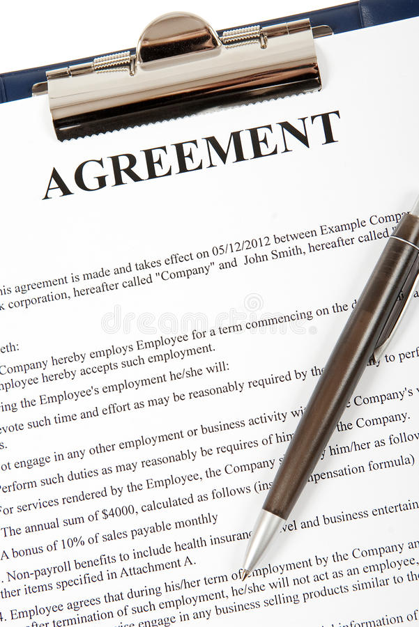 Agreement In A Clipboard Stock Photo