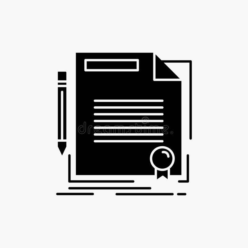 Agreement, contract, deal, document, paper Glyph Icon. Vector isolated illustration. Vector EPS10 Abstract Template background stock illustration