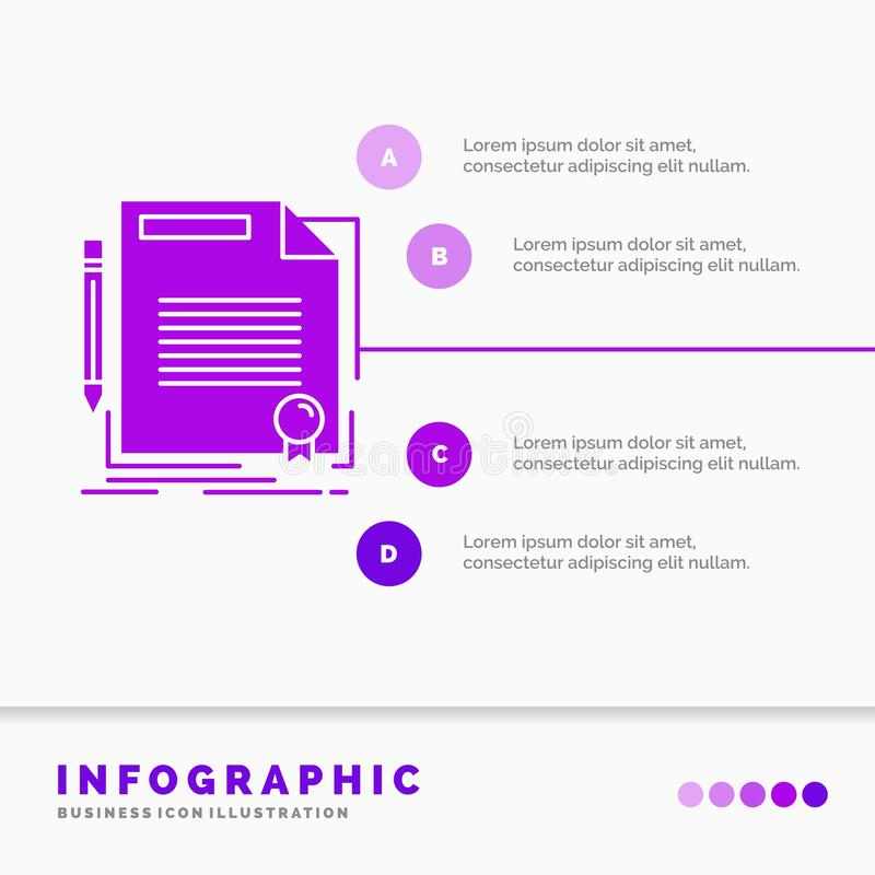 Agreement, contract, deal, document, paper Infographics Template for Website and Presentation. GLyph Purple icon infographic style. Vector illustration.. Vector vector illustration