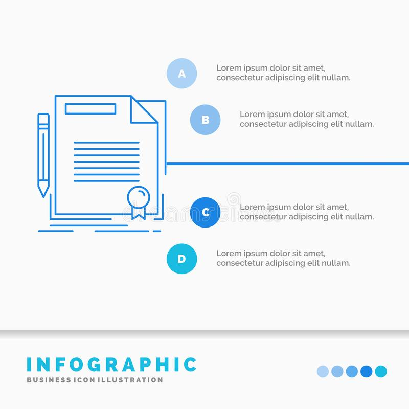 Agreement, contract, deal, document, paper Infographics Template for Website and Presentation. Line Blue icon infographic style. Vector illustration. Vector vector illustration