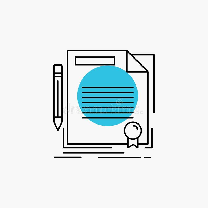 Agreement, contract, deal, document, paper Line Icon. Vector EPS10 Abstract Template background royalty free illustration
