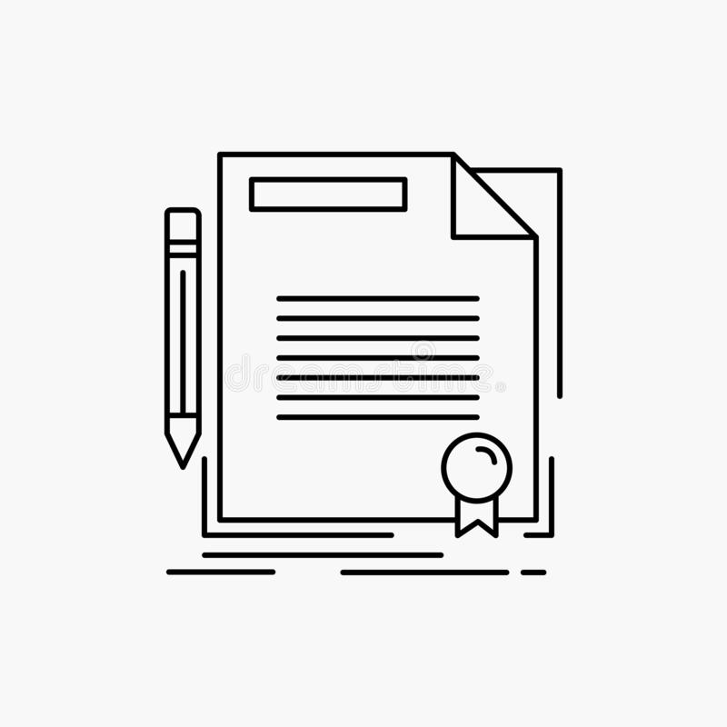 Agreement, contract, deal, document, paper Line Icon. Vector isolated illustration. Vector EPS10 Abstract Template background vector illustration