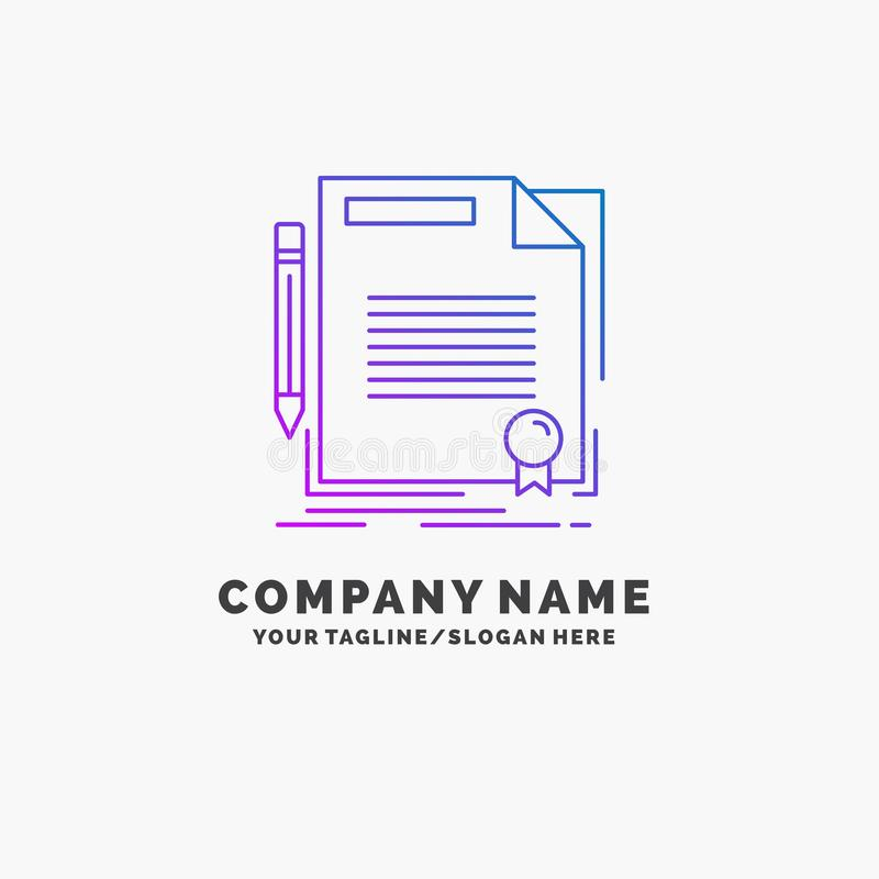 Agreement, contract, deal, document, paper Purple Business Logo Template. Place for Tagline. Vector EPS10 Abstract Template background stock illustration