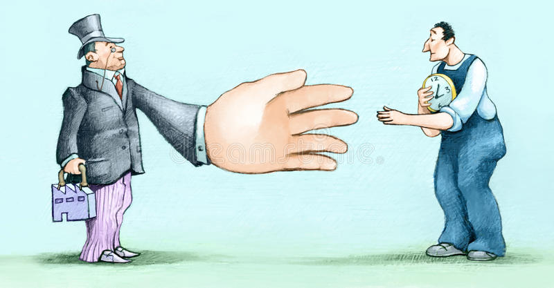 Agreement. An executive with a huge hand with a contracted worker royalty free illustration