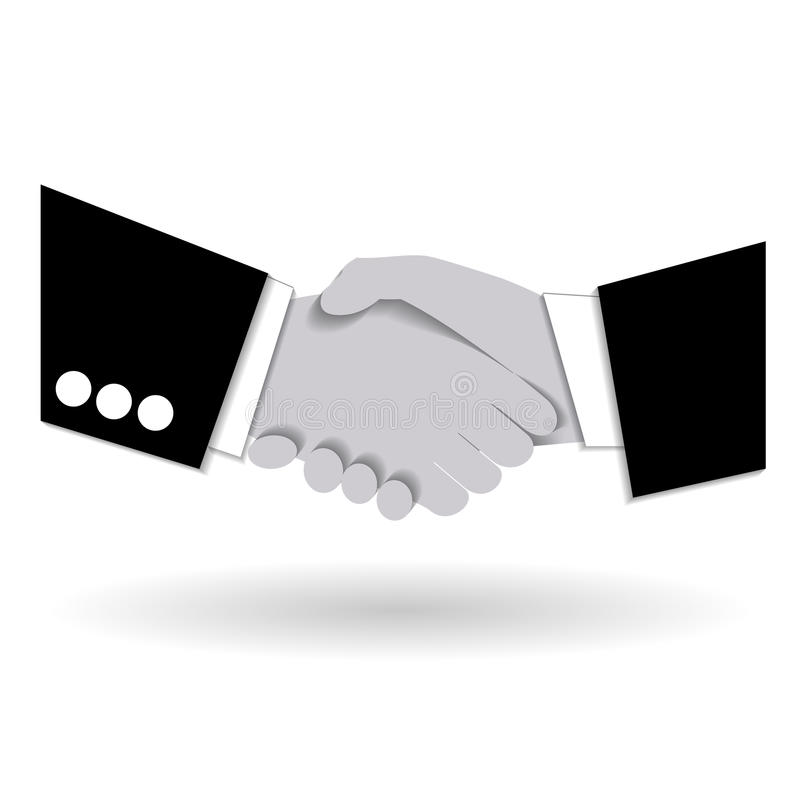 Agreement handshake business concept. Two businessmen shaking each other hands. Concept of deal, benefit, common ground, contract. Vector illustration. Use as royalty free illustration