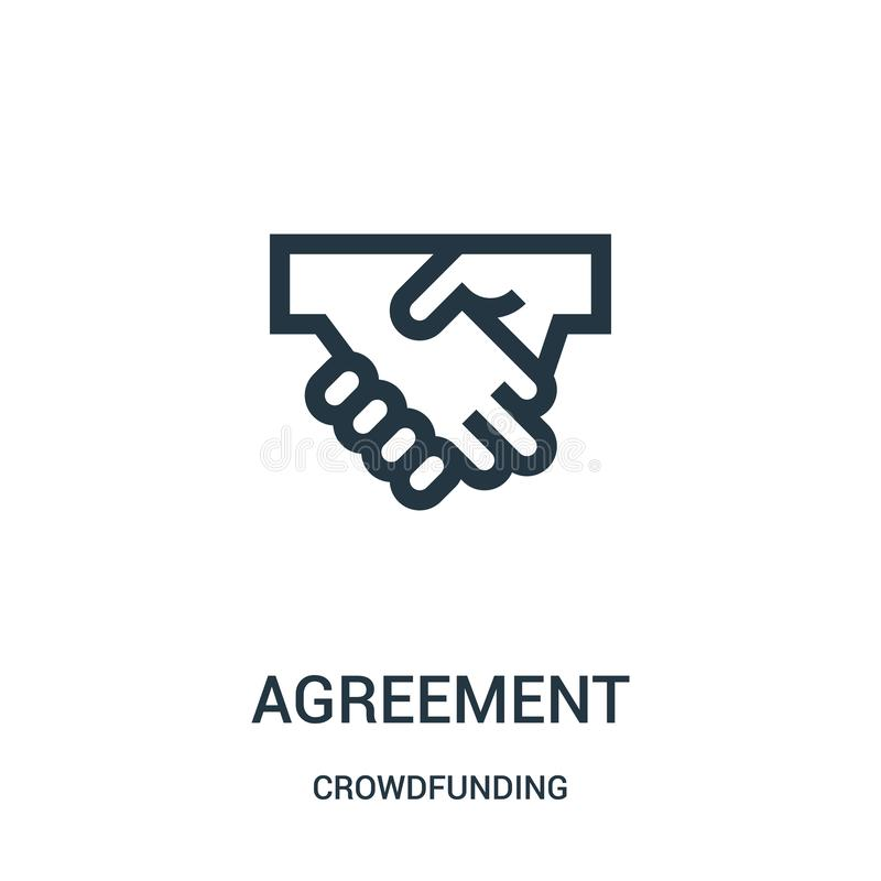 Agreement icon vector from crowdfunding collection. Thin line agreement outline icon vector illustration. Linear symbol for use on web and mobile apps, logo stock illustration