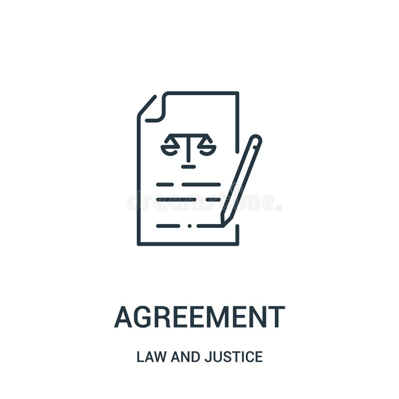 Agreement icon vector from law and justice collection. Thin line agreement outline icon vector illustration. Linear symbol for use. On web and mobile apps, logo royalty free illustration