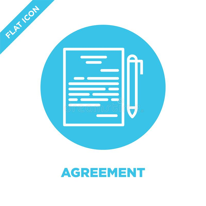 Agreement icon vector. Thin line agreement outline icon vector illustration.agreement symbol for use on web and mobile apps, logo. Print media stock illustration