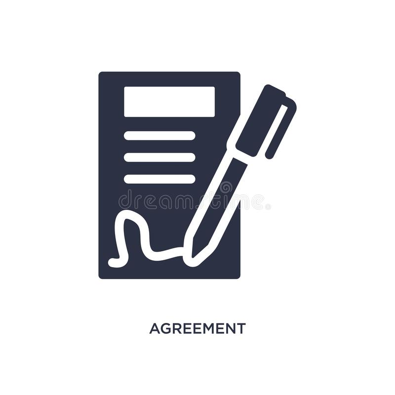 Agreement icon on white background. Simple element illustration from ethics concept. Agreement isolated icon. Simple element illustration from ethics concept stock illustration