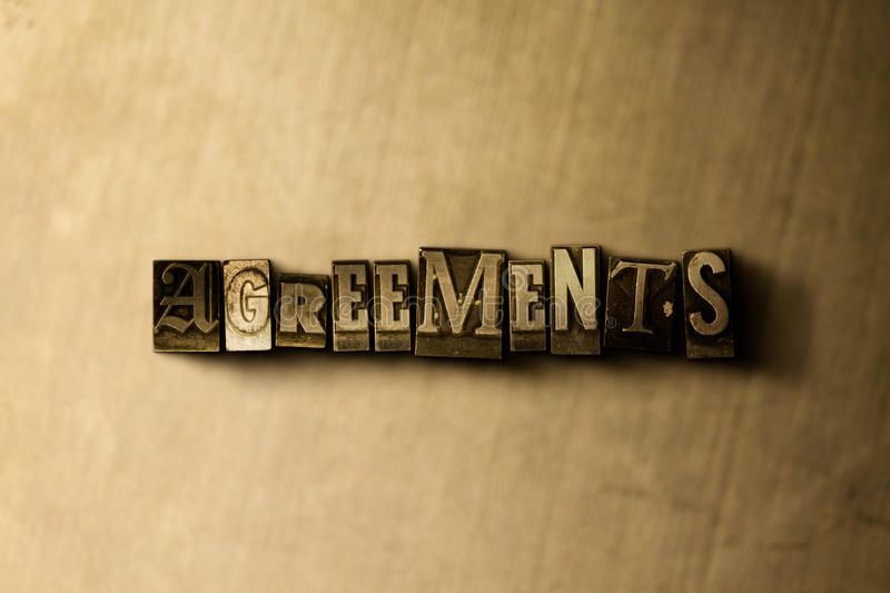 AGREEMENTS - close-up of grungy vintage typeset word on metal backdrop. Royalty free stock illustration. Can be used for online banner ads and direct mail vector illustration