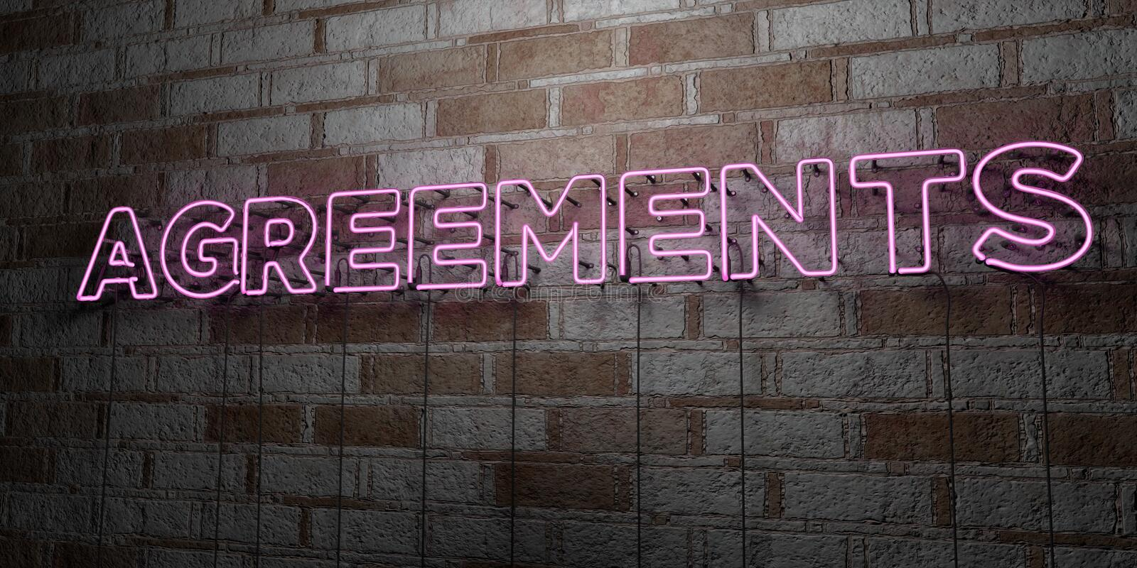 AGREEMENTS - Glowing Neon Sign on stonework wall - 3D rendered royalty free stock illustration. Can be used for online banner ads and direct mailers vector illustration