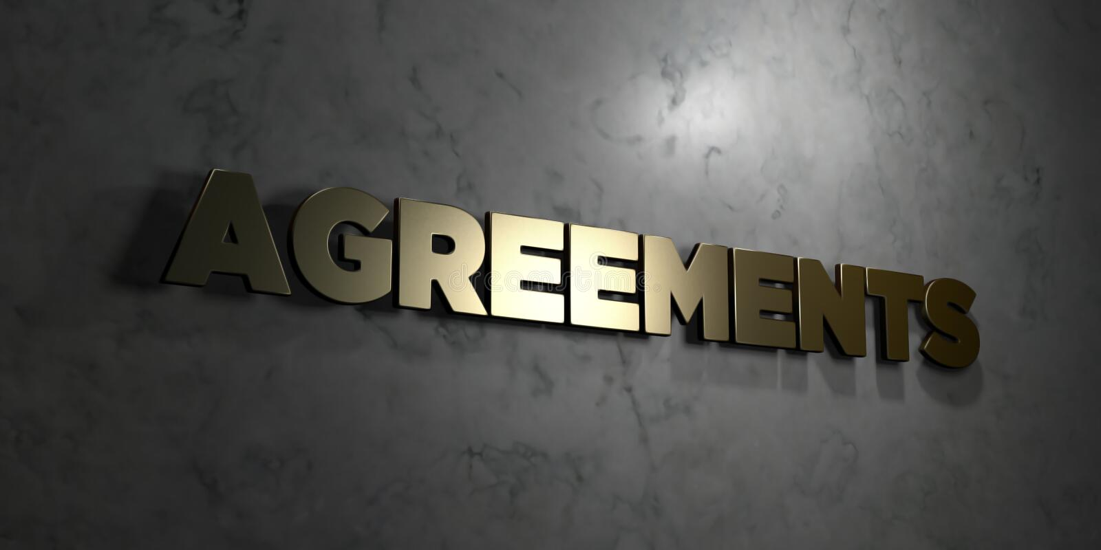Agreements - Gold text on black background - 3D rendered royalty free stock picture. This image can be used for an online website banner ad or a print postcard royalty free illustration