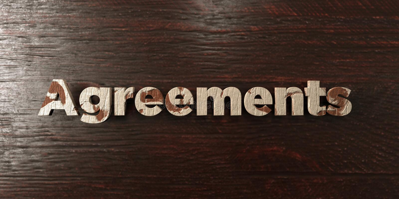 Agreements - grungy wooden headline on Maple - 3D rendered royalty free stock image. This image can be used for an online website banner ad or a print postcard stock illustration