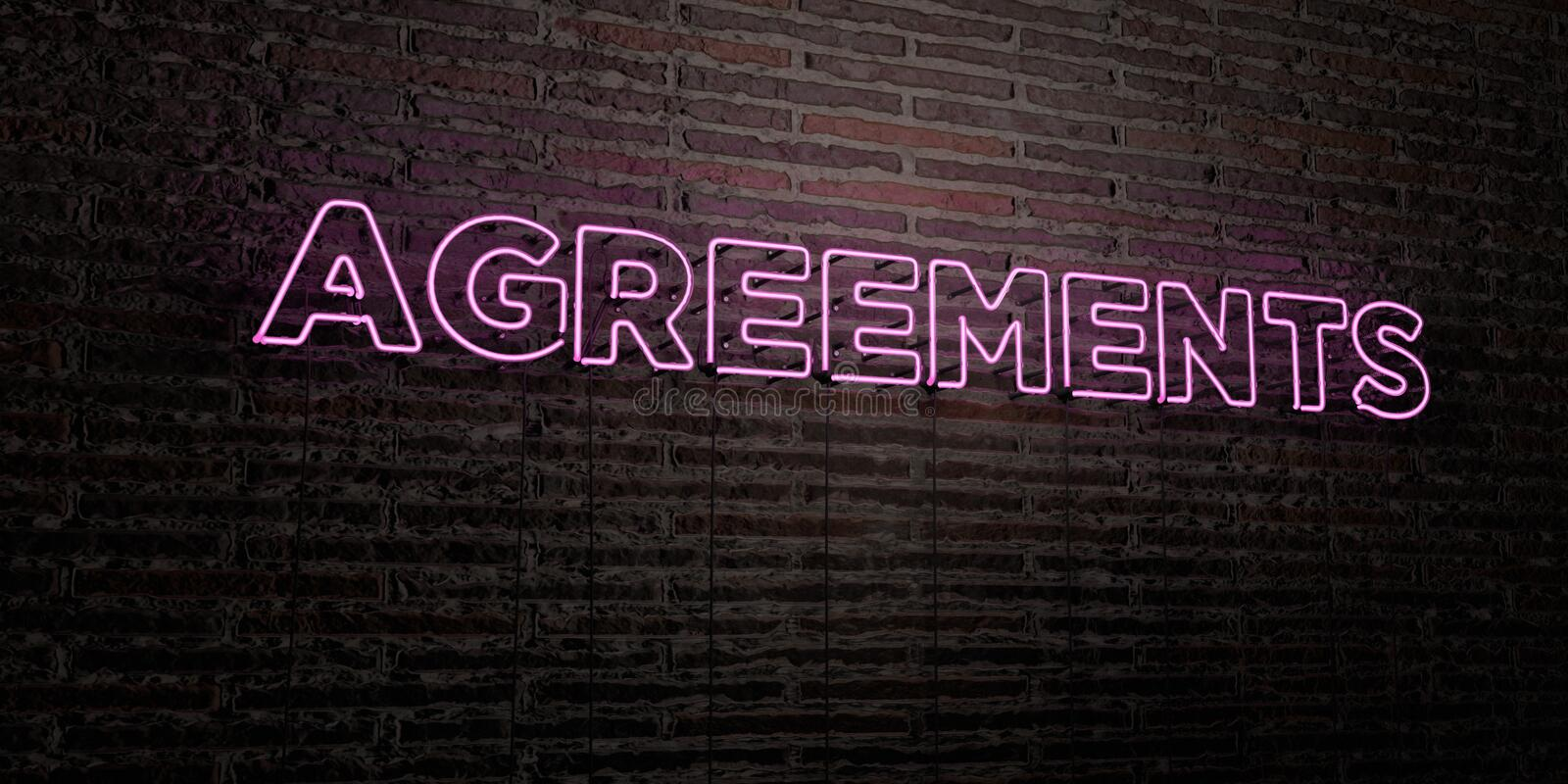 AGREEMENTS -Realistic Neon Sign on Brick Wall background - 3D rendered royalty free stock image. Can be used for online banner ads and direct mailers stock illustration