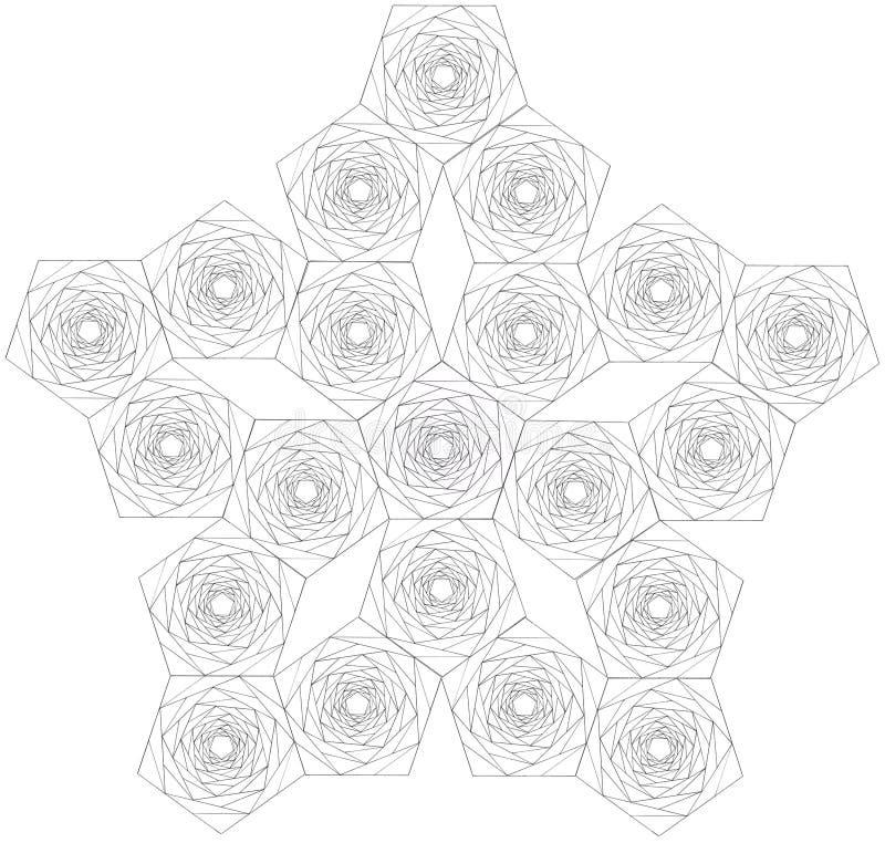 Agregação dos pentagons feitos de pentagons menores imagens de stock royalty free