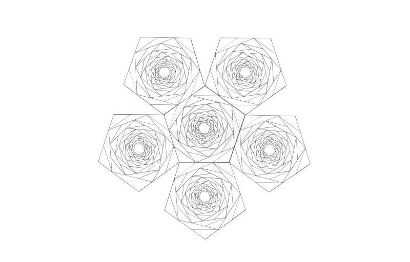 Agregación de los pentágonos hechos de pentágonos más pequeños ilustración del vector