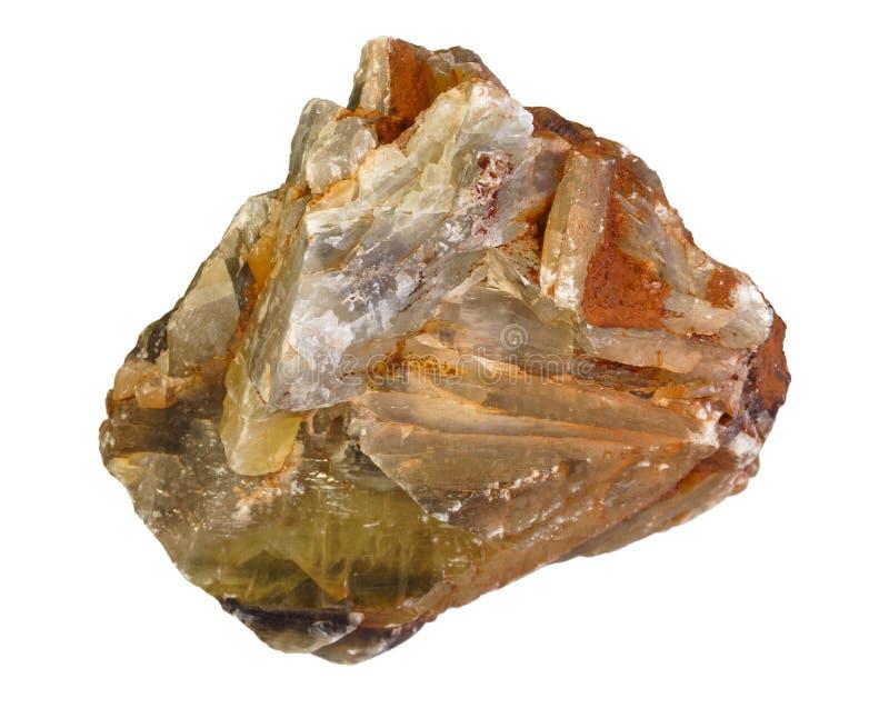 Agregado dos cristais da gipsita isolados no fundo branco fotografia de stock