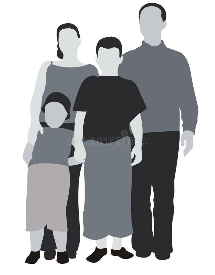 Agregado familiar com quatro membros ilustração do vetor