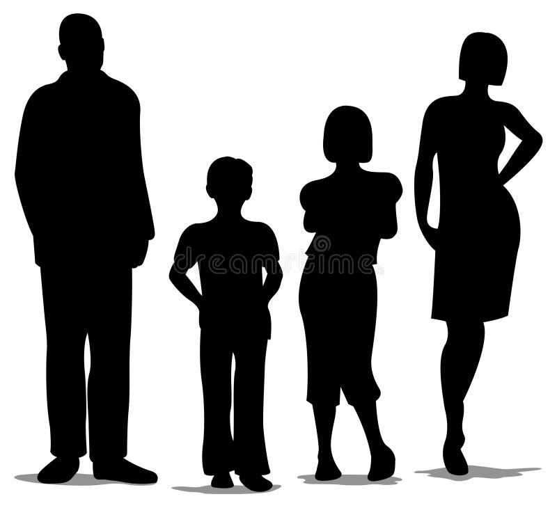 agregado familiar com quatro membros ereto, silhueta ilustração royalty free