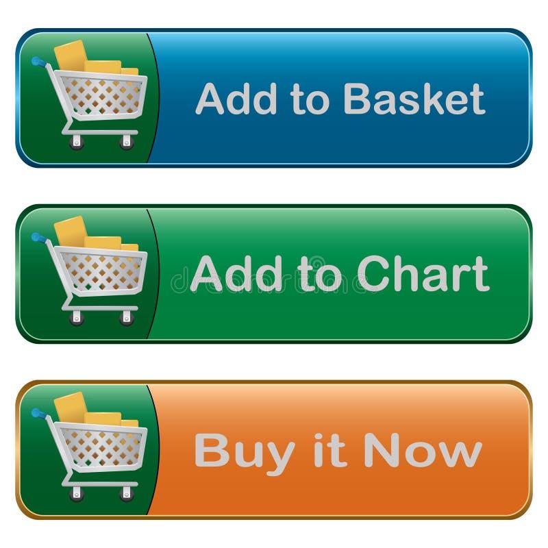 Agregue al botón de la cesta stock de ilustración