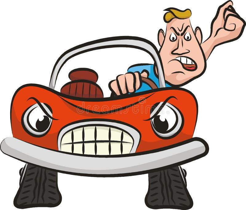 Agresión en el camino - conductor enojado stock de ilustración