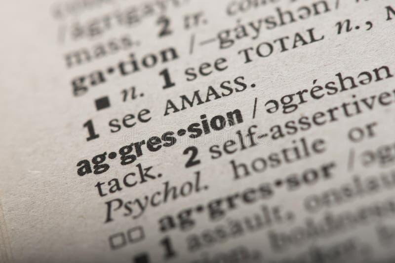 Agressie in een Woordenboek royalty-vrije stock afbeelding