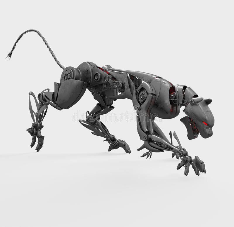 Download Agressive Metal Cyborg Panther Royalty Free Stock Photos - Image: 13407238