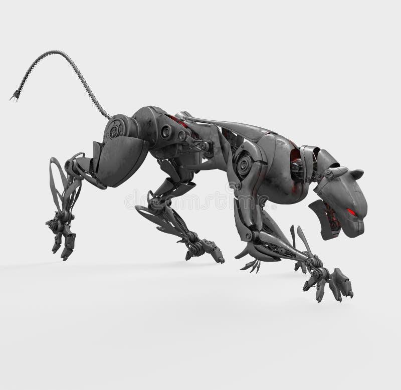 agresywna cyborga metalu pantera ilustracji