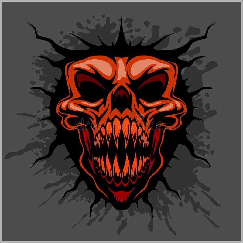 Agresywna czaszka dla motocross hełma ilustracji