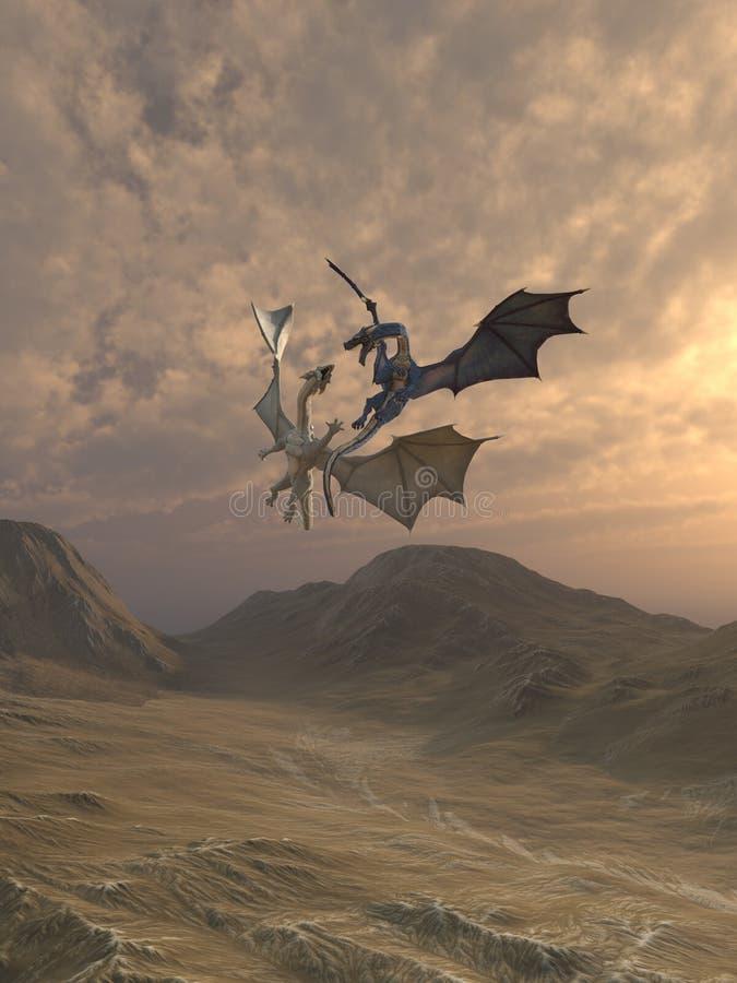 Agresywni smoki Walczy w góra krajobrazie ilustracja wektor