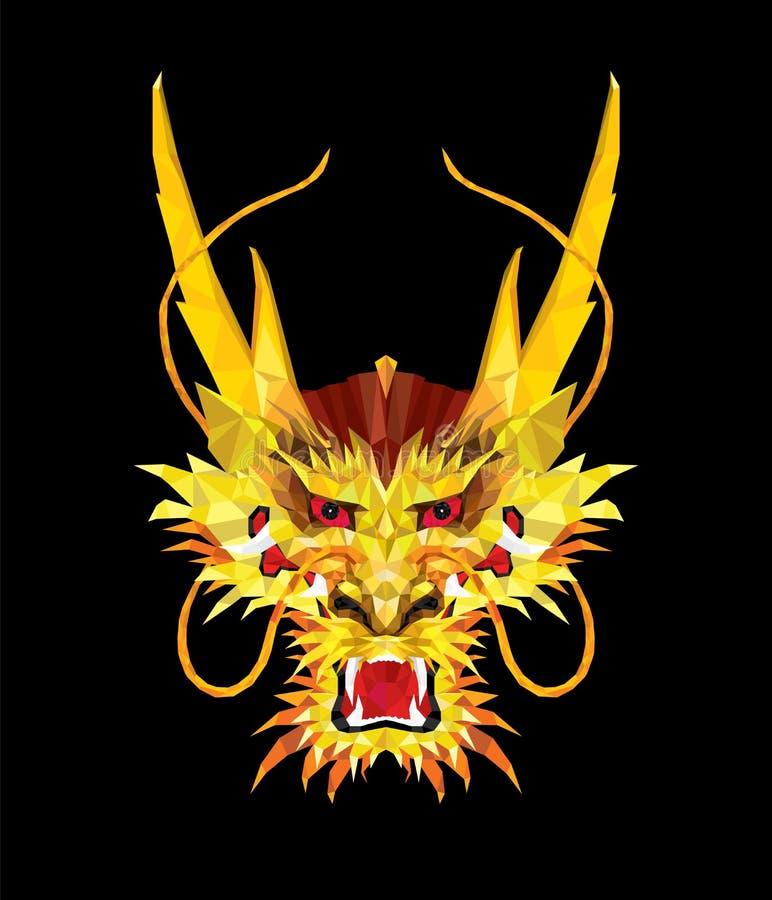 Agresywny Azjatycki smok w niskim wieloboka stylu, Geometryczny wzór, ilustracja wektor