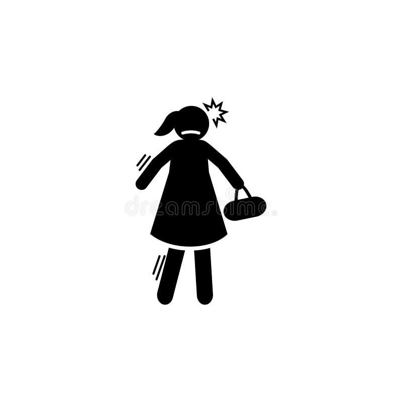 Agresywny, gniewny, dziewczyny ikona Element negatywna charakter?w znamion ikona Premii ilo?ci graficznego projekta ikona podpisz ilustracja wektor