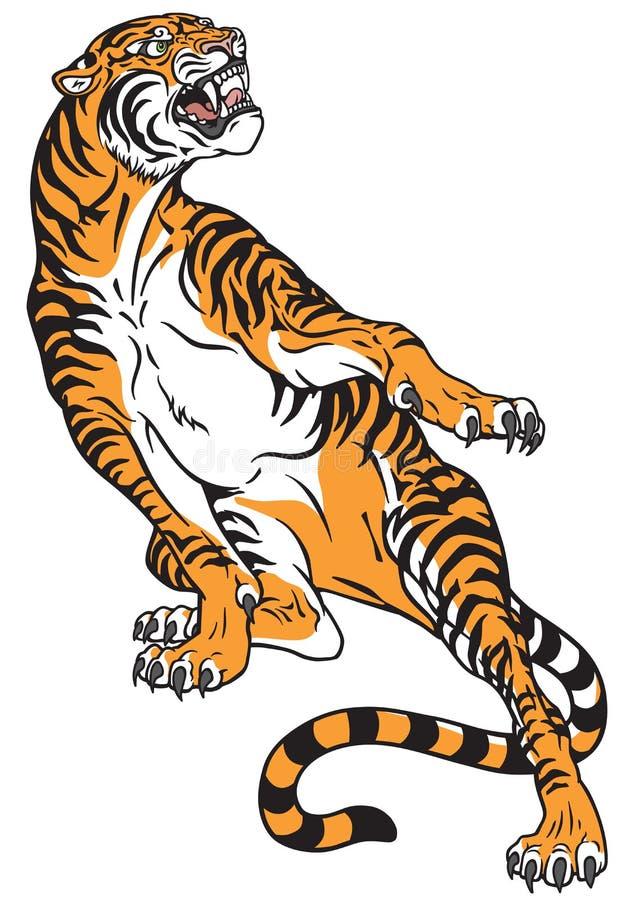 Agresywny huczenie tygrys w napadanie pozie ilustracja wektor