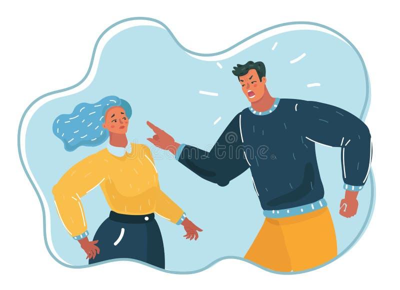 Agresywny mężczyzna wrzeszczy przy kobietą royalty ilustracja