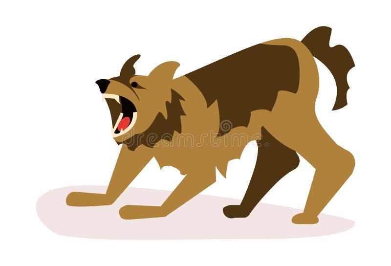 Agresywny niebezpieczny psa atak ilustracji