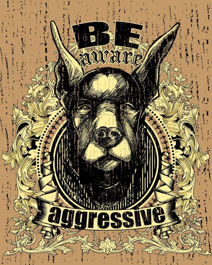 Agresywny pies royalty ilustracja
