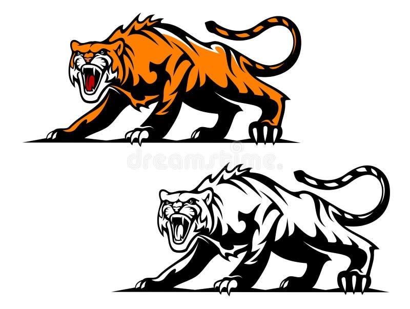 Agresywny tygrys ilustracja wektor