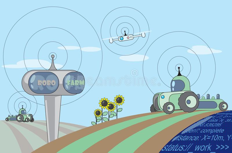 Agribots που λειτουργεί στον τομέα διανυσματική απεικόνιση