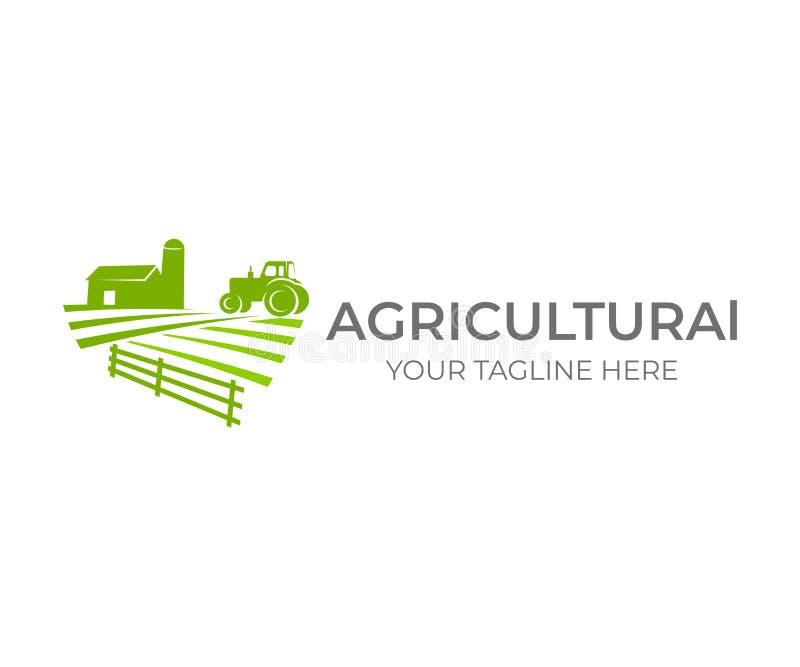 Agricole, agriculture et agriculture avec la ferme et le tracteur sur le champ, conception de logo Agro-industrie, ferme d'eco, g illustration libre de droits