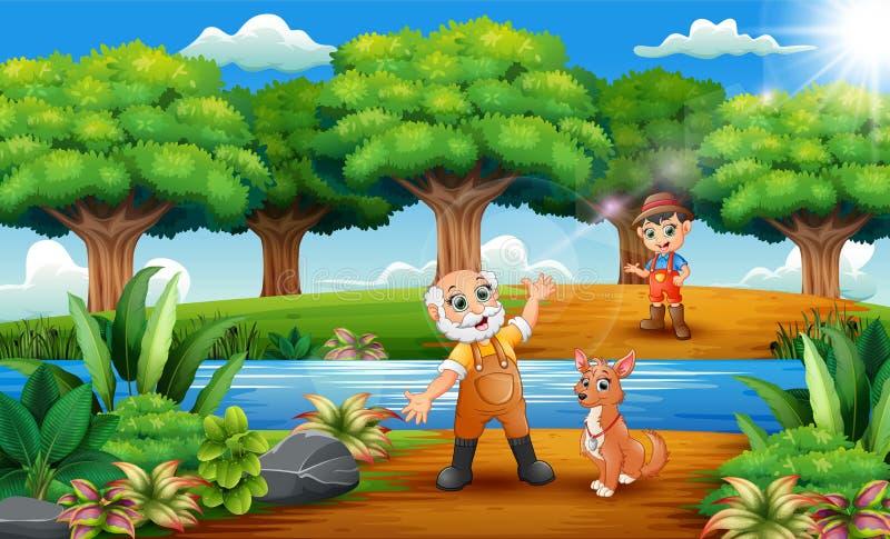 Agricoltore anziano felice del fumetto e piccolo agricoltore con il cane nel parco illustrazione di stock